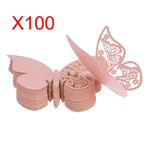 Kmall 100 x Pearly Pink Butterfly Wedding Party Table Number Name Paper Place Decorations Mark Cards Placeholder Marker Bottle Marker Wine Glass Cup Wall Decals Sticker for Wedding Favor Party Birth