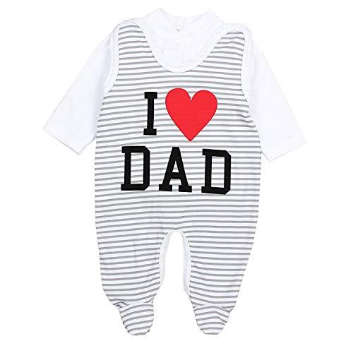 TupTam Conjunto de Ropa de bebé, Pelele y Traje, I Love Dad/Rayas Grises, 80