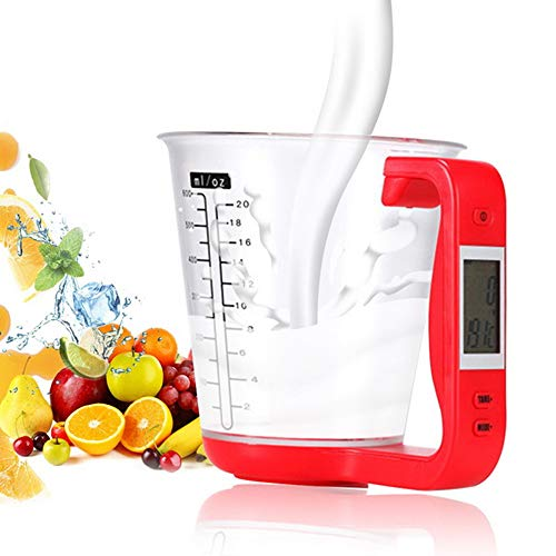 iMeshbean Digital Kitchen Scale Diet Food Compact Kitchen Scale for Baking Cooking (Measuring Cup Scale) (Red)