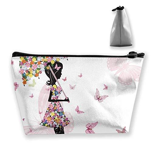 Vlinder Zwart Meisje met Bloemen Paraplu Potlood Tas Rits Tas Munttas Make-up Tas Buidelzak Grote Capaciteit Pen Houders voor Kinderen School Kids Jongens Meisjes Vrouwen Gift