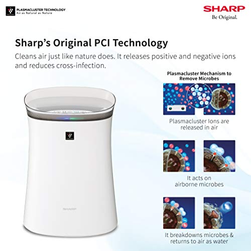 Sharp Air Purifier for Homes & Offices   Dual Purification - ACTIVE (Plasmacluster Technology) & PASSIVE FILTERS (True HEPA H14+Carbon+Pre-Filter)   Model:FP-F40E-W   White