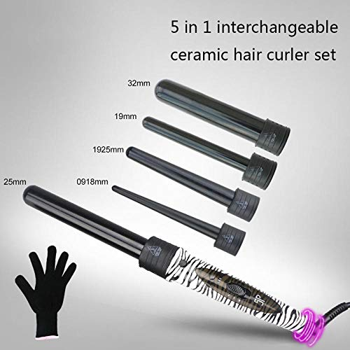 Fer à Friser avec Technologie PTC 5-en-1 changement tube curling rod set multifonctionnel outil de modélisation en céramique fer à friser Eclats de Perles Céramique Avancée Perfect Curl Machine