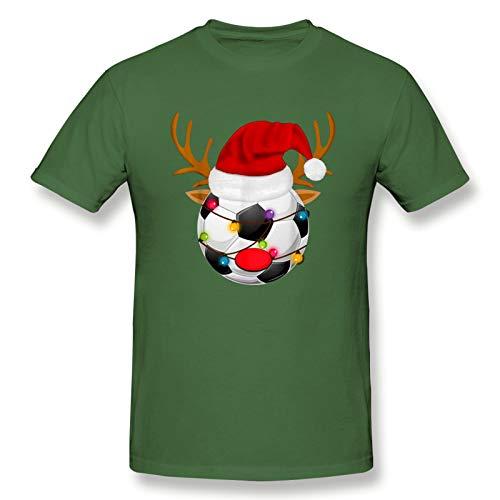 Christmas - Soccer Ball Reindeer Santa Claus Men's Basic Short Sleeve T-Shirt Classic Moss Green Medium