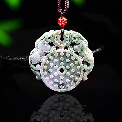 LIUXINDA-HZ Jade Pixiu Colgante Accesorios de Piedras Preciosas Naturales Regalos Chinos Amuleto Moda Tallada para Mujer Joyas Collar con dijes Cuerda de Tigre Tamaño Ajustable.