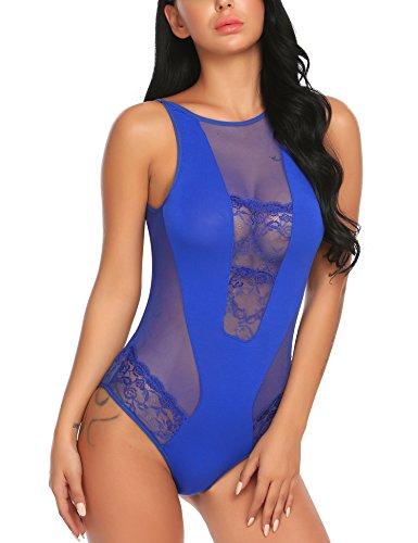 ADOME Sexy rückenfrei Body Tank Tops Dessous Overall Bodysuit Blusen Jumpsuit Spitze Negligee Nachtwäsche Reizwäsche Unterwäsche Lingerie für Damen Blau EU L