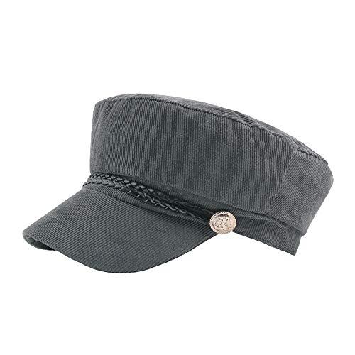HUACHEN Wollmütze Barettmütze Herbst Wintermütze Cordhut Visier Marineblau Casual Achteckiger Hut Outdoor-Hüte (Farbe : Grau, Größe : 56-58CM)