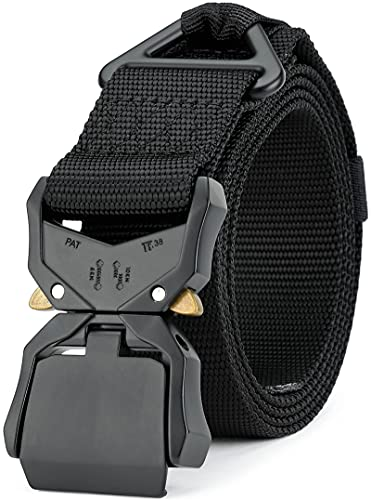"DEYACE Work Belts for Men, Military Hiking Survival Holster Heavy Duty Belts for Men and Women, 1.5"" Nylon Tactical Belt Quick-Release Buckle"