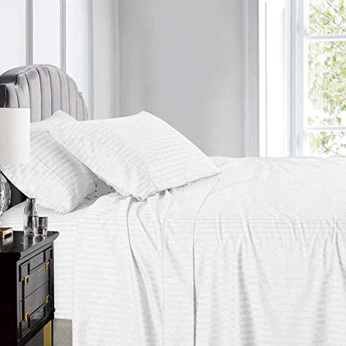 Wamsutta Damask Stripe 500-Thread-Count PimaCott King Sheet Set in White