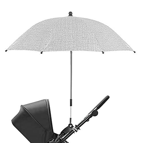 OHHCO Sostal Parasol Paraguas Universal Anti-URO Impermeable Parasol PRAM con Abrazadera de fijación Ajustable y Mango para Cochecito Cochecito Cochecito Cochecito,Gris