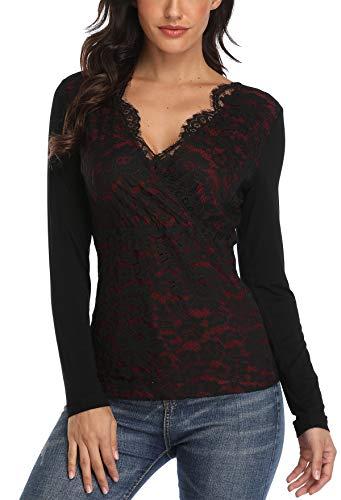 MISS MOLY Damen Langarm Shirt Spitzen Oberteile mit V-Ausschnitt Rot Small