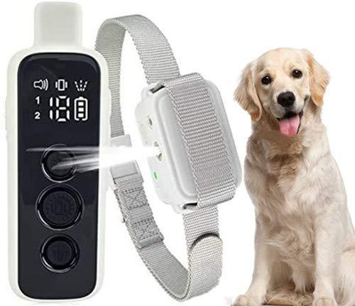 ULTPEAK Collar Antiladridos, Collar Adiestramiento Perros Remoto y Automático 3 en 1, Aspray Recargable para Perros y Collares con Sonido