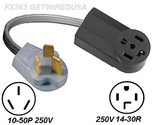 New 14-30R 4-Pin Female Dryer Receptacle Socket To Old 10-50P Stove Range Oven 3-Prong Male Plug, Cord Converter, Electric Power Outlet Adapter, NEMA