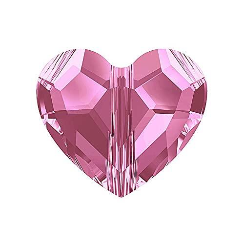 2 cuentas de cristal de Swarovski (5741) – perla rosa, 8 mm (Swarovski Crystal Crystal Love Bead (5741) – Bead, rosa, 8 mm)