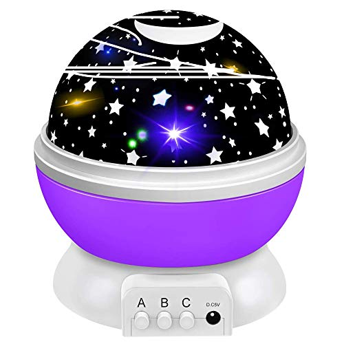 ZIIFEEL Luce Notturna Bambini,Proiettore Stelle Soffitto,Lampada Proiettore di Stelle,Proiettore Cielo Stellato,Lampada Proiettore Bambini,Rotazione 360°/8Colori,Regali bambini(viola )