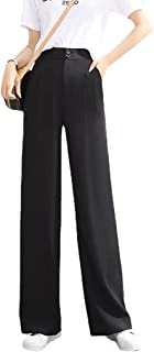 Woman's Casual Full-Length Loose Pants Wide Leg Pants High Waisted Casual Stretch Chiffon Yoga Sweatpants with Pockets (X...