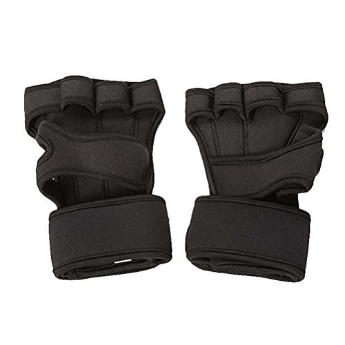 ABOOFAN 1 par de guantes sin dedos para levantamiento de pesas, guantes de ejercicio, suministros de entrenamiento para mujeres y hombres, talla M (negro)