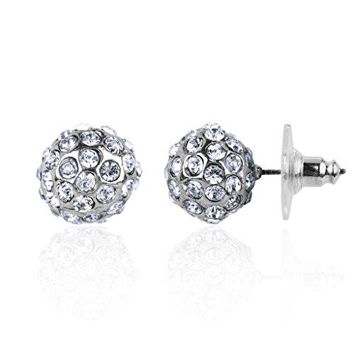 Lux Accessories Pave Fireball Bridal Bride Wedding Bridesmaid Stud Earrings