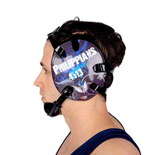 4 Time All American Wrestling Headgear for Men, Women, and Youth, MMA, Sparring, Boxing, and Wrestling Mat Ear Wrap Gear/Supplies, Exercise Equipment (Philippians 4:13 - Blue)