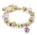 Pulsera chapada en oro rosa de plata para mujeres y niñas con set de regalo
