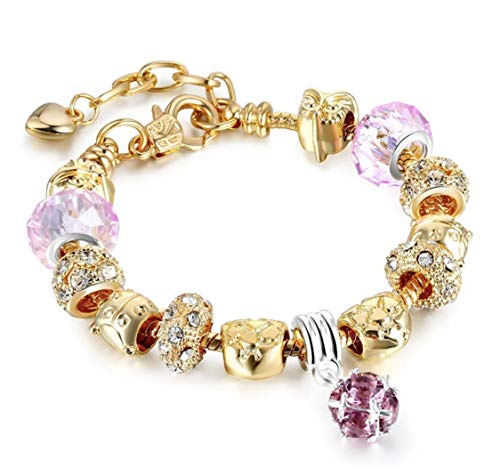 Gold & Pink Crystal Plated Charm Bracelet Bundle for Women and Girls with Gift Set