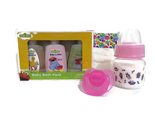 Custom Set Compatible with Baby Alive Snackin Lily or Snackin Sara - Preemie Bottle 2oz Fake Milk + Pacifier + Baby Alive Micro Preemie Diaper (Colors/Designs Vary) + Baby Bath Pack Set