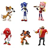 Sonic Cake Topper - WENTS Sonic Mini Juego de Figuras Niños Sonic Mini Juguetes Baby Shower Fiesta de cumpleaños Pastel Decoración Suministros 6 Piezas