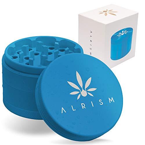 ALRISM Keramik Grinder, Ceramic Crusher, 4-teilig, Ø 63 mm, inkl. Beutel, Glasfilter Tip, Pinsel und Pollenschaber (Blau)