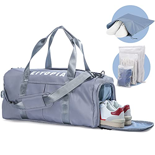 EITOPIA Gym Bag Sports Duffel Bag with Dry Wet Pocket & Shoes Compartment for Women and Men Travel Swimming Yoga Fitness Sports Camping Outdoors Lightweight Travel & Adjustable Shoulder Strap + Extra 4 Storage Bag