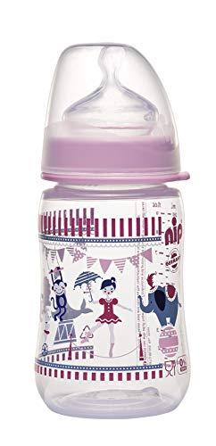 nip Weithalsflasche mit Anti-Kolik Sauger: Baby Trinkflasche mit ACTIFLEX- System, Made in Germany, BPA-Frei, Silikon, Einheitsgröße, Saugloch M-mittlerer Trinkfluss, 260 ml, Girl