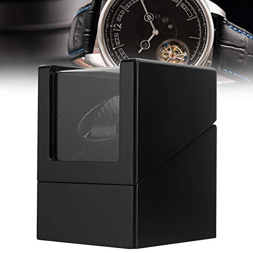 yuytee Automatischer Uhrenbeweger, geräuschisolierende Kohlefaser-Uhrenbox PU-Leder für Armbanduhr für Damen und Herren Mechanische Uhr 100-240V(Mich)