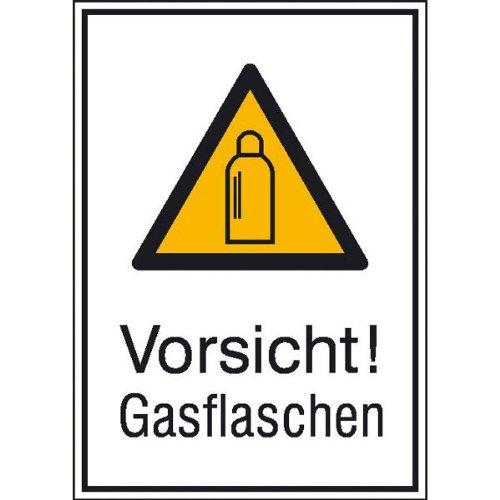 Vorsicht! Gasflaschen! Warnschild, selbstkl. Folie, Größe 13,10x18,50cm