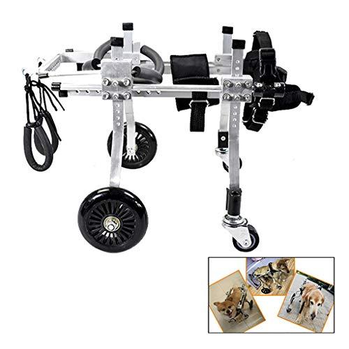 AMITD Hond rolstoel (10-19 kg honden), 4 wielen verstelbare tas, hondenstoel, verkleding, beschadigd achterpoten, achterpoten, revalidatie, hondenwagen 2 2