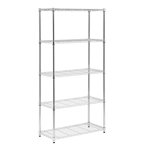 Honey-Can-Do SHF-01913 5-Tier Adjustable Shelving System, 16-Inch by 36-Inch by 72-Inch, Chrome