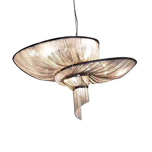 Kroonluchter kwasten Rose Gold Silver ketting plafondlamp licht-aluminium hanger lamp Villa Hotel Dining woonkamer restaurant café moderne kristallen kroonluchter kroonluchter kroonluchter 80 cm zilver