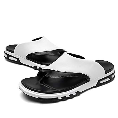Luyangyund Sandalias deportivas para hombre Flip-Flop, cómodas, informales, para interior y exterior, de piel sintética, blanco, 43 EU