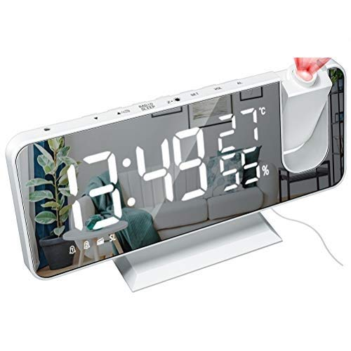 YOUKUKE Despertador Digital Led Reloj Despertador con Espejo