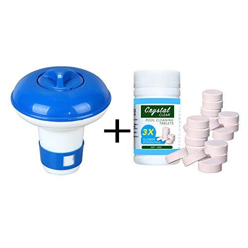Kecheer Flotador de limpieza de piscinas,Dispensador químico flotante,Dosificador cloro piscina con 100 piezas de tabletas
