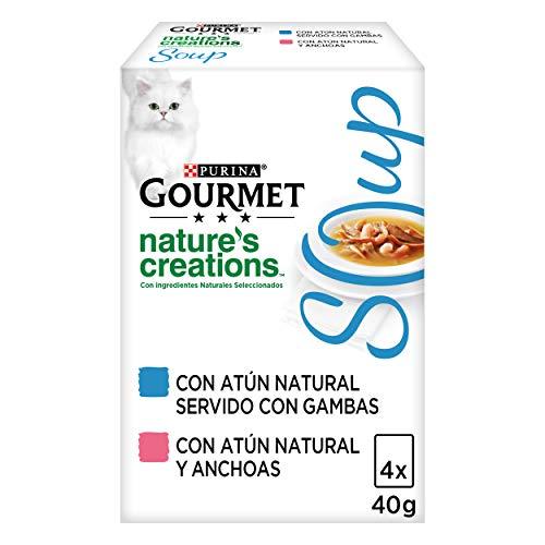 Purina Gourmet Crystal Soup comida para gatos con Atun Natural y Gambas 10 x [4 x 40 g] 🔥