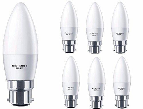 Tech Traders C37 5 Watt B22 Bajonett entspricht 50 Watt Glühlampe, 400 lm, nicht dimmbar, BC LED, Kerzenlampe, 6 Stück (Warmweiß 3000 K), 5 W