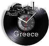Grecia Atenas Skyline Partenón Recurso Vinilo Record Reloj de Pared Santorini Art Griego Decoración del Hogar Reloj Europeo