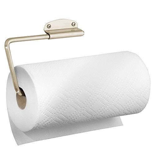 mDesign Veelzijdige wandmontage papieren handdoek houder & dispenser, montage aan muren of onder kasten - voor keuken, terras, bijkeuken, wasruimte en garage opslag - houdt Jumbo rollen, staaldraad Single Satijn