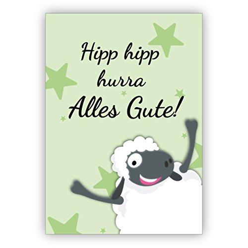 Humoristische wenskaart/verjaardagskaart met schaap, groen: Hipp hipp hurra Alles Gute! • Mooie wenskaart met envelop voor beste vrienden en lievelingsmensen. 16 Grußkarten