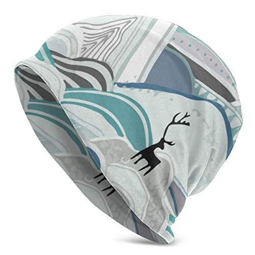 Beanie Unisex Caribou Mountains Gorro de Punto de Calavera Azul cálido Unisex Gorro con puños Suave y Holgado