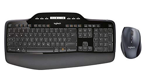 Logitech MK710 Kabelloses Tastatur-Maus-Set, 2.4 GHz Verbindung via Unifying USB-Empfänger, 3-Jahre Batterielaufzeit, LCD-Batterieanzeige, Handballenauflage, PC/Laptop, Deutsches QWERTZ-Layout