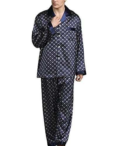 YOUCAI Pijama Hombre,Conjunto De Pijama Seda Pijama De Satén con Botones Y Bolsillos,Pijama De 2...