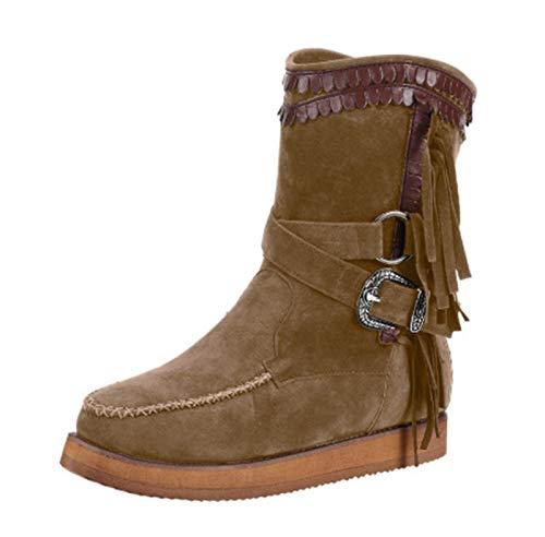 CTEJ Botas de Mujer Otoño Invierno Punta Redonda Calientes Calzado Antideslizante Ligero Botines Que Caminan con borlas,Camel,42