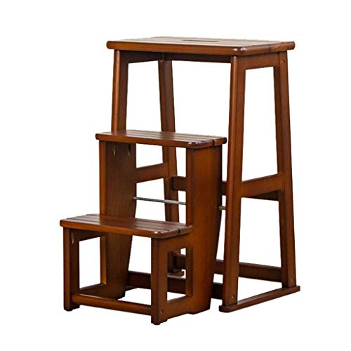 LXDZXY Ladders,3 Step Ladders Step Stool Foldable Wooden Flower Stand Shelf Household Household &Amp; Office &Amp; Kitchen Lightweight Stepladders Portable Storage Shelf Stand Adults Step Ladder,Brow