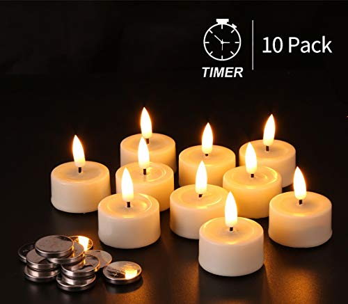 Eywamage Realistic Timer Flameless Tealights Batteries Included, Real Wax Battery LED Votive Tea Candles Flickering Ivory D 1.6  Unscented