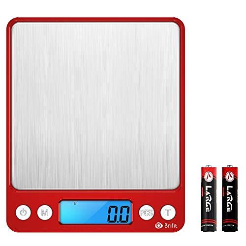 AMIR Digital Küchenwaage, Digitalwaage 3kg x 0,1g, Elektronische Briefwaage mit PSC/Tara-Funktion/LCD Display, Einheiten Konvertierung, ultradünne Küchenwaage aus Edelstahl (Rot)