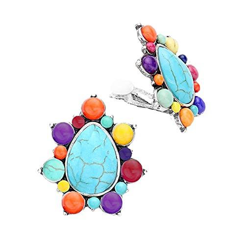 Schmuckanthony Hoernel - Pendientes de clip con piedra natural, multicolor, 3,5 cm de largo